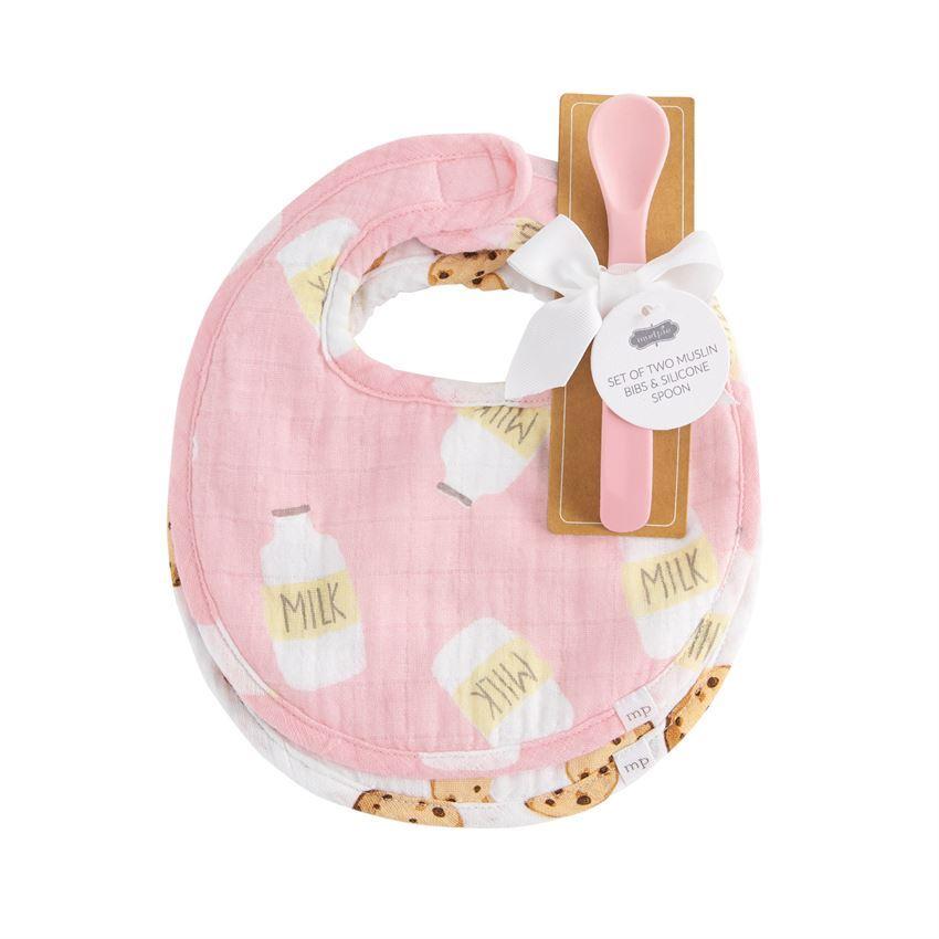Pink Milk Muslin Bib & Spoon Set by Mudpie