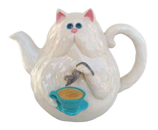 Cat with Mouse Teapot by Blue Sky Clayworks