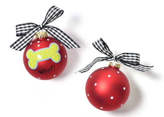 Woof! Dog Bone Glass Ornament by Coton Colors