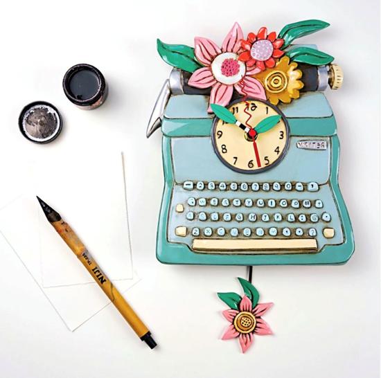 Typewriter Pendulum Clock by Allen Designs Studio