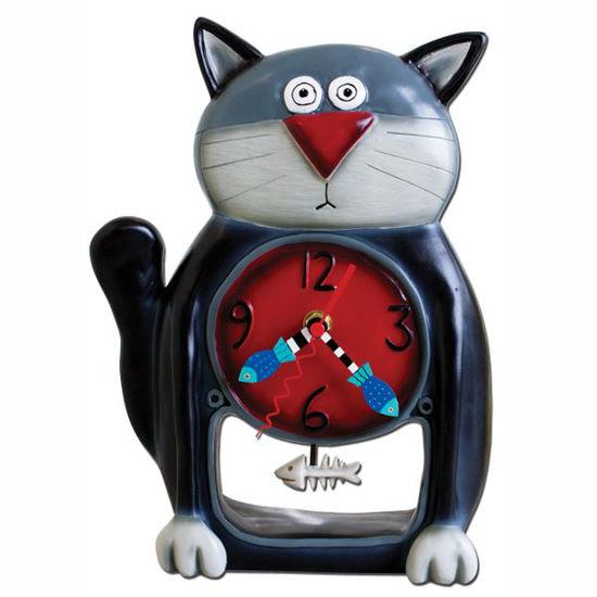 Black Kitty Pendulum Clock by Allen Designs Studio