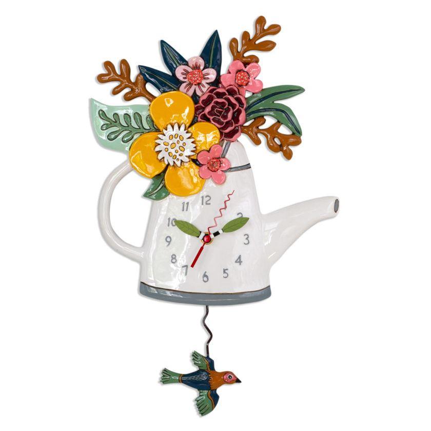 Blossoms Watering Can Pendulum Clock by Allen Designs Studio