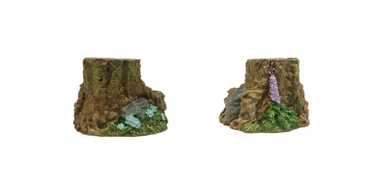 Small Stump with Flowers (Assorted) for Habitat Hideaway