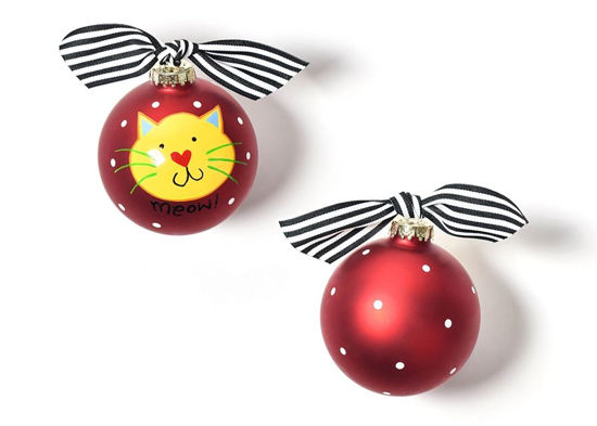 Meow Red Cat Glass Ornament by Coton Colors