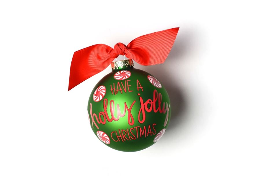 Holly Jolly Peppermint Glass Ornament by Coton Colors