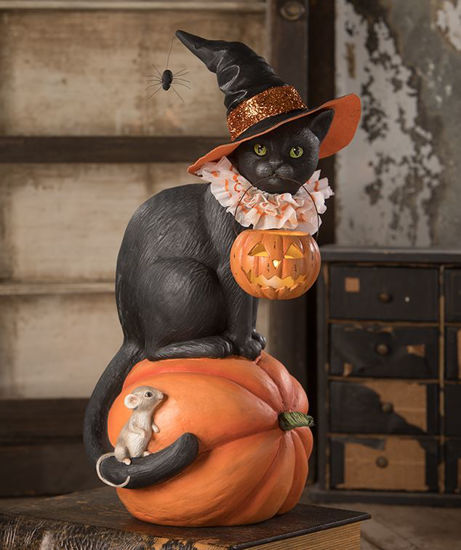 Black Cat Witch on Pumpkin by Bethany Lowe Designs