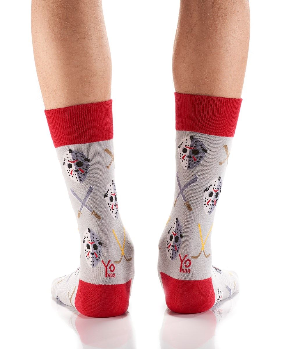 Hockey Masks & Sticks Men's Crew Socks by Yo Sox