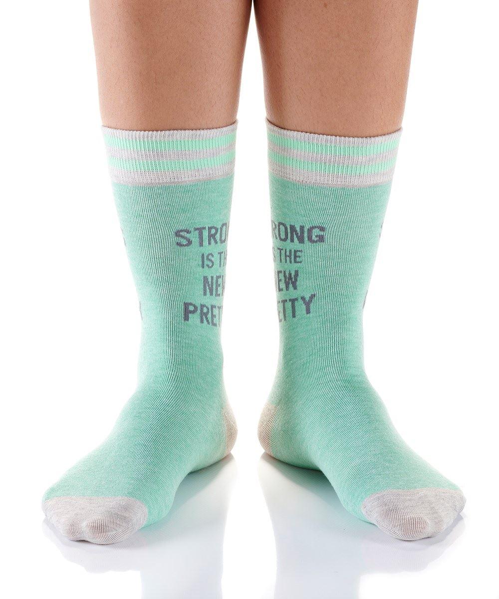 Strong Is Pretty Women's Crew Socks by Yo Sox