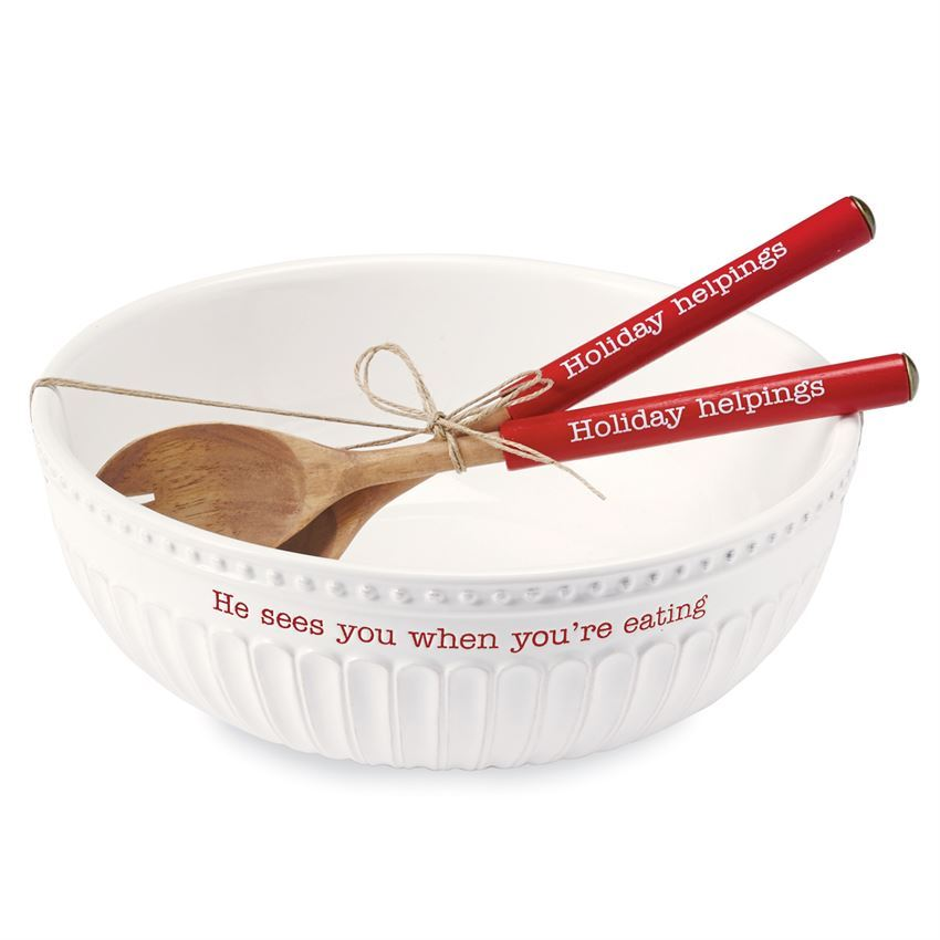 He Sees You Serving Bowl Set by Mudpie