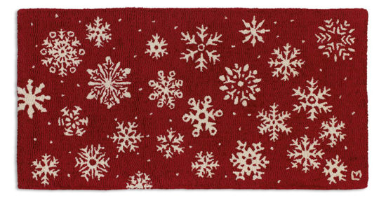 Frosty Flakes on Red 2' x 4' Rug by Chandler 4 Corners