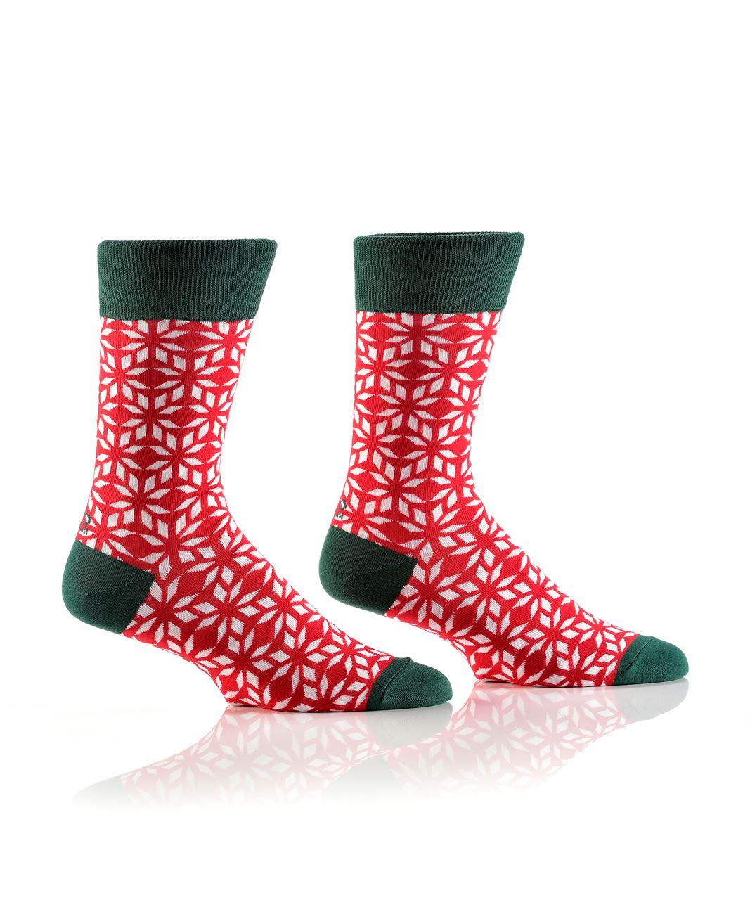 Peppermint Snowflakes Men's Crew Socks by Yo Sox