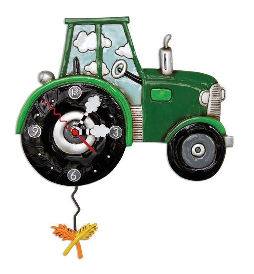 Green Tractor Time Pendulum Clock by Allen Designs Studio