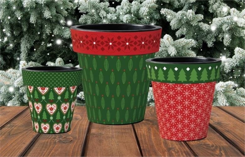 "Christmas Hearts 12"" Art Planter by Studio M"