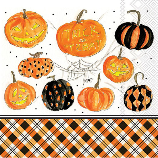 Plaid Pumpkins Luncheon Napkin by Boston International