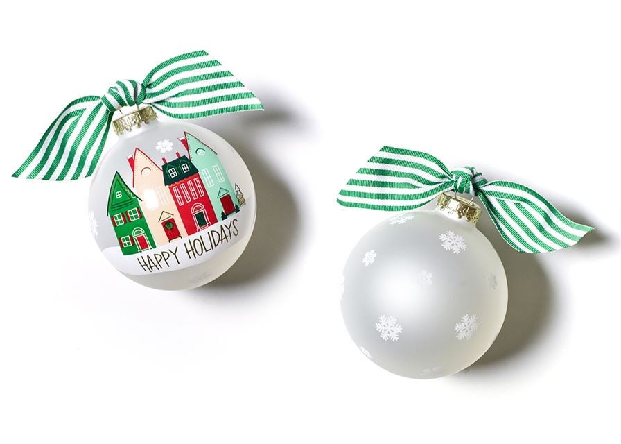 Happy Holidays Vintage Village Glass Ornament by Coton Colors