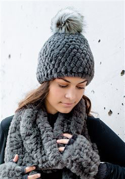 Knitted Faux Fur Hat by Donna Salyers Fabulous Furs