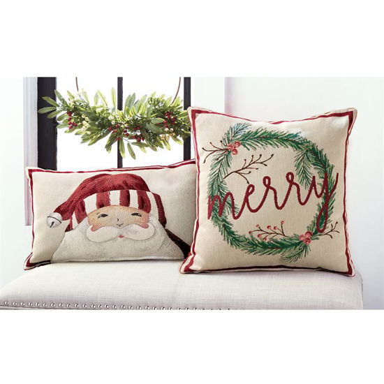 Christmas Tapestry Pillow by Mudpie