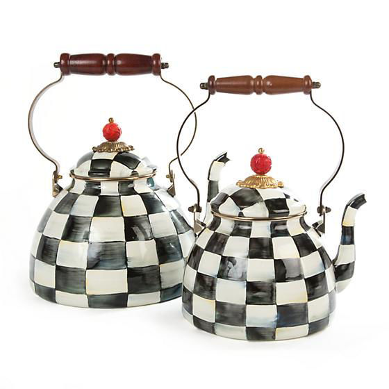 Courtly Check Enamel Tea Kettle - 2 Quart by MacKenzie-Childs