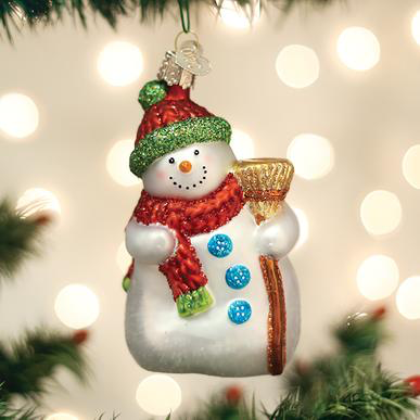 Snowman with a Broom Ornament by Old World Christmas
