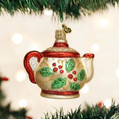 Holly Teapot Ornament by Old World Christmas