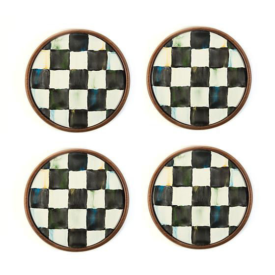 Courtly Check Enamel Coasters - Set of 4 by MacKenzie-Childs