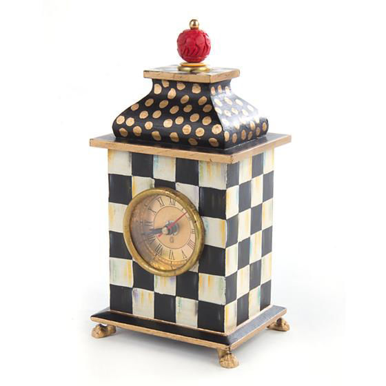 Courtly Check Wood Desk Clock by MacKenzie-Childs