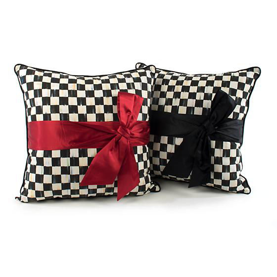 Courtly Check Sash Pillow - Red by MacKenzie-Childs