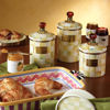 Parchment Check Enamel Canister - Medium by MacKenzie-Childs