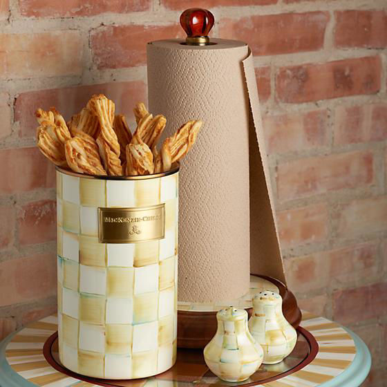 Parchment Check Wood Paper Towel Holder by MacKenzie-Childs