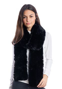 Black Knitted Faux Fur Scarf by Donna Salyers Fabulous Furs
