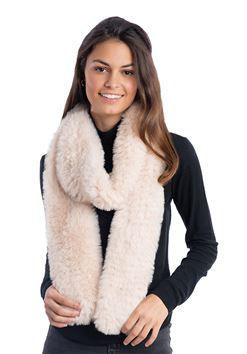 Ivory Knitted Faux Fur Scarf by Donna Salyers Fabulous Furs