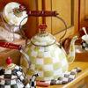 Parchment Check Enamel Tea Kettle - 3 Quart by MacKenzie-Childs