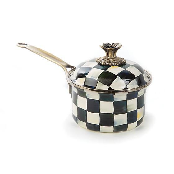 Courtly Check Enamel 1 Qt. Saucepan by MacKenzie-Childs