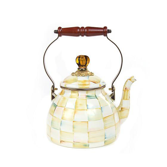 Parchment Check Enamel Tea Kettle - 2 Quart by MacKenzie-Childs