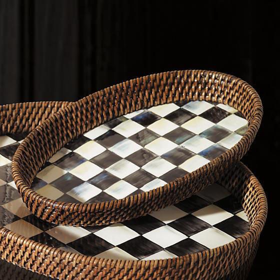 Courtly Check Rattan & Enamel Tray - Small by MacKenzie-Childs