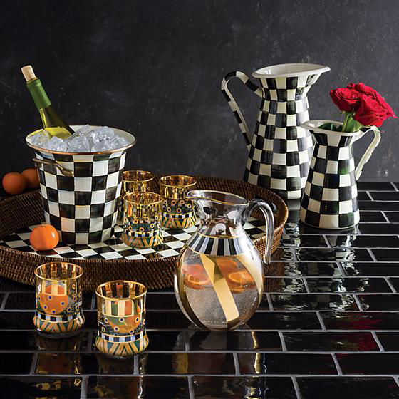 Courtly Check Rattan & Enamel Party Tray by MacKenzie-Childs