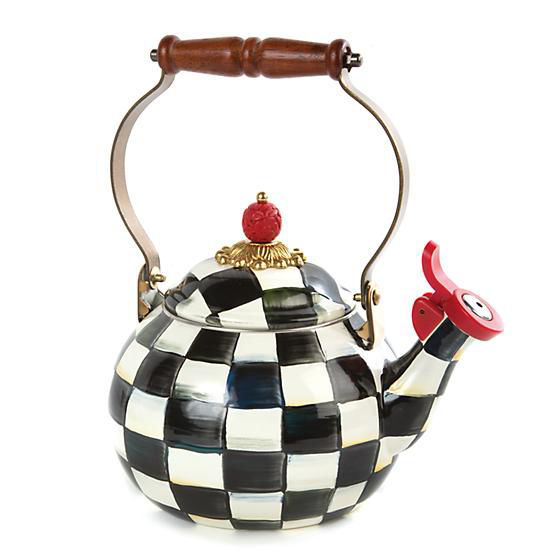 Courtly Check Enamel Whistling Tea Kettle by MacKenzie-Childs