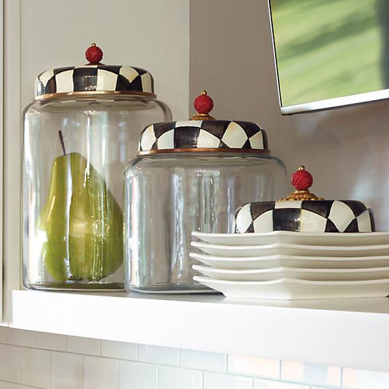 Courtly Check Enamel Lid Storage Canister - Biggest by MacKenzie-Childs
