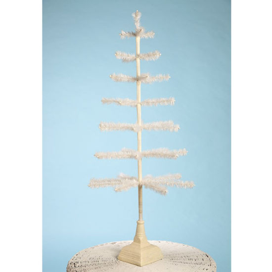 "Feather Ivory Tree with Glitter Base 42"" by Bethany Lowe"
