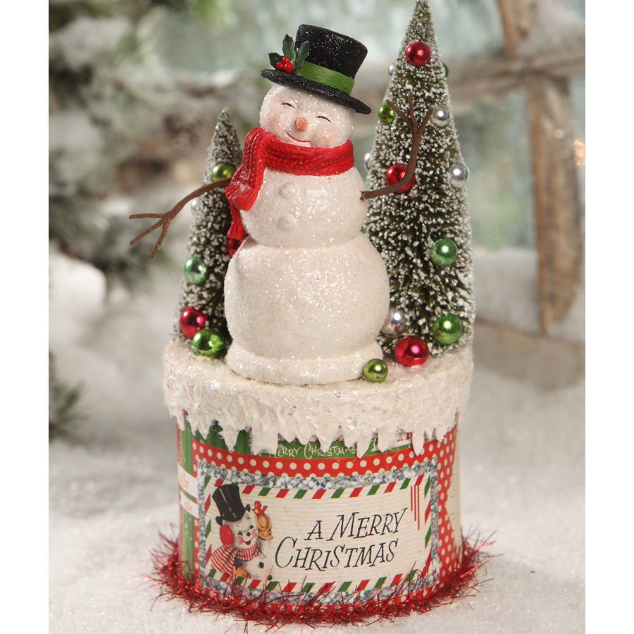 Retro Snowman on Box by Bethany Lowe