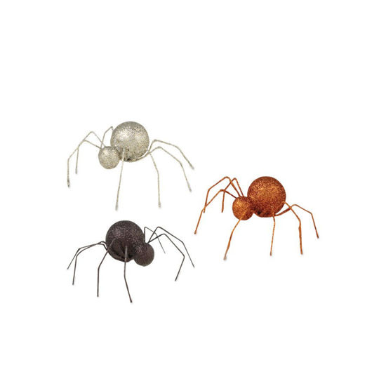 Glittered Tin Spider (Assortment of 3) by Bethany Lowe Designs