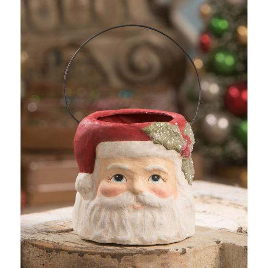 Small Holly Jolly Santa Bucket by Bethany Lowe