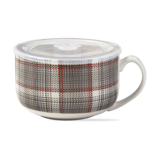 Winter Plaid Soup Mug with Lid by TAG
