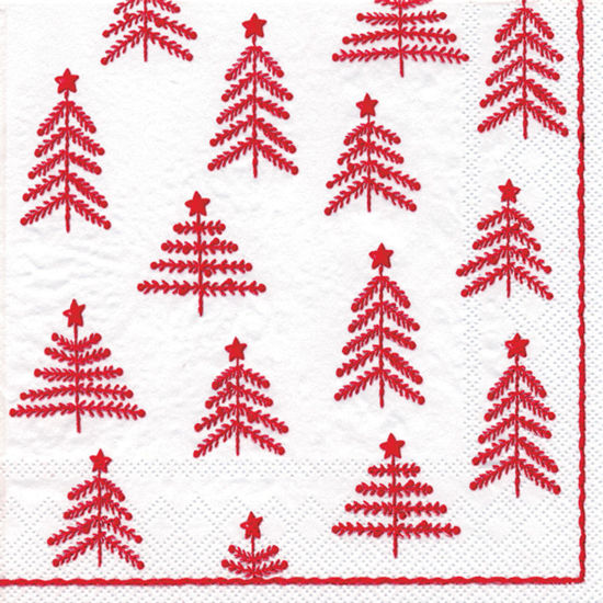Little Xmas Trees White & Red Cocktail Napkin by Boston International