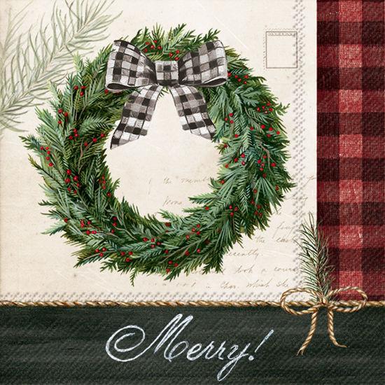 Holiday Wreath Cocktail Napkin by Boston International