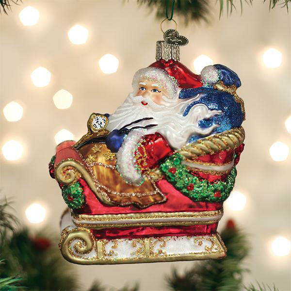 Santa In Sleigh Ornament by Old World Christmas