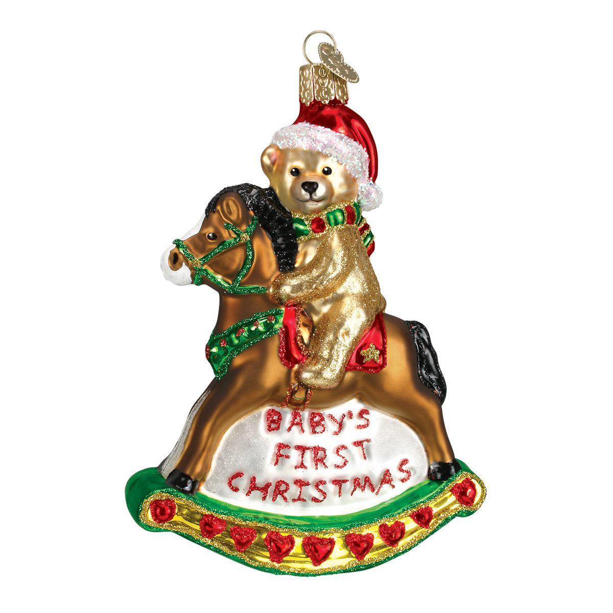 Rocking Horse Teddy Ornament by Old World Christmas
