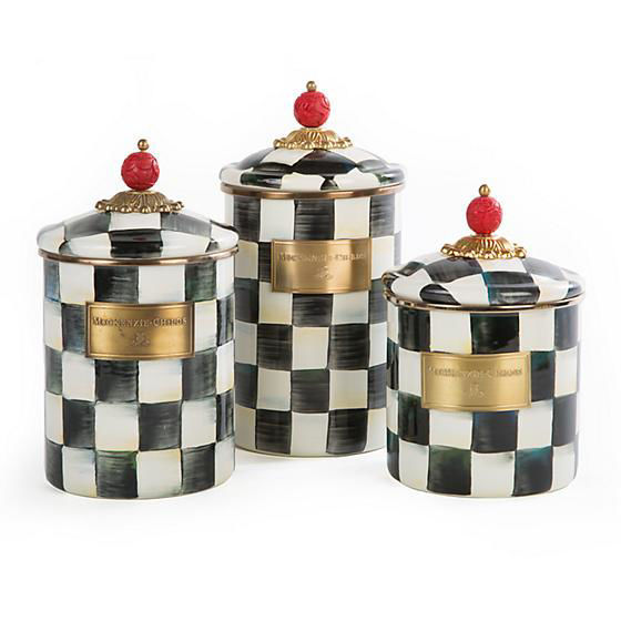 Courtly Check Enamel Canister - Large by MacKenzie-Childs