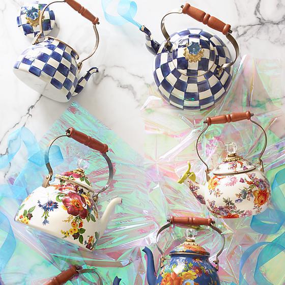 Royal Check Enamel Tea Kettle - 3 Quart by MacKenzie-Childs
