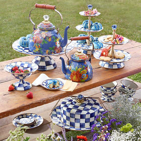 Royal Check Enamel Two Tier Sweet Stand by MacKenzie-Childs